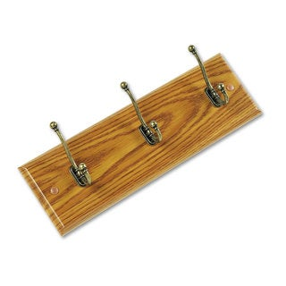 Safco Wood Wall Rack Three Double-Hooks 18-inch wide x 3-1/4-inch deep x 6-3/4h Medium Oak