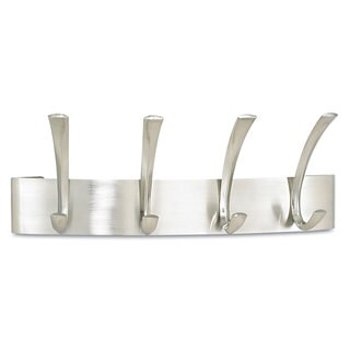 Safco Metal Coat Rack Steel Wall Rack Four Hooks 14-1/4-inch wide x 4-1/2-inch deep x 5-1/4-inch high Silver