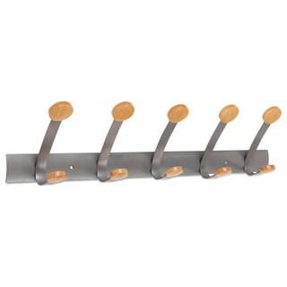 Alba Wooden Coat Hook Five Wood Peg Wall Rack Brown/Silver