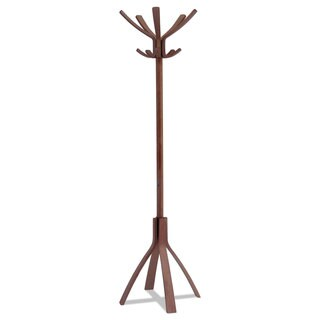 Alba Cafe Wood Coat Stand Ten Peg/Five Hook 21 2/3 x 21 2/3 x 69 1/3 Espresso Brown