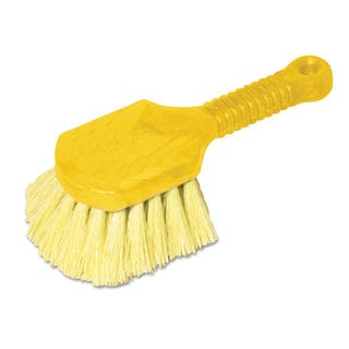 Rubbermaid Commercial Long Handle Scrub 8-inch Plastic Handle Grey Handle with Yellow Bristles