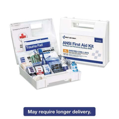 First Aid Only ANSI 2015 Compliant Class A+ Type I & II First Aid Kit for 25 People 141 Pieces