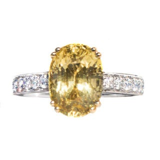 California Girl Jewelry 18k Two-tone Gold Unheated Sapphire and 1/2ct TDW White Diamond Ring