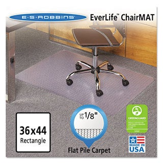 ES Robbins EverLife Chair Mats For Medium Pile Carpet Rectangular 36 x 48 Clear