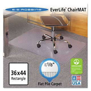 ES Robbins EverLife Chair Mats For Medium Pile Carpet Rectangular 36 x 48 Clear