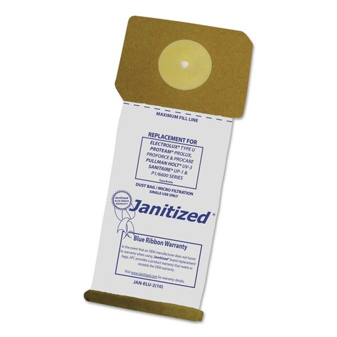 Janitized Vacuum Filter Bags Designed to Fit Electrolux Type U Upright 100/Case