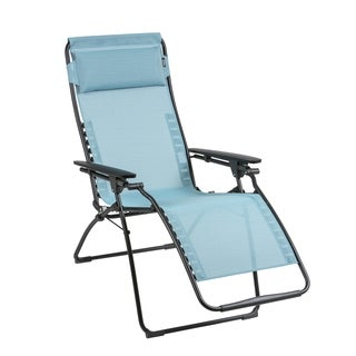 Lafuma Futura Black Steel Frame Zero Gravity Recliner with Aqua Batyline Duo Fabric