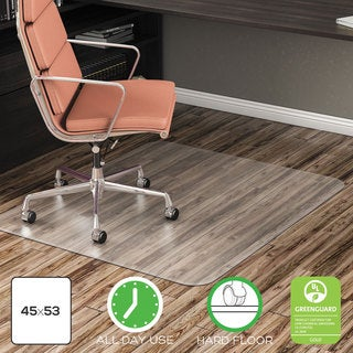 deflecto EconoMat Anytime Use Chair Mat for Hard Floor 45 x 53 Clear