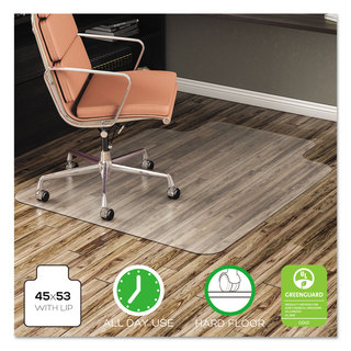 deflecto EconoMat Anytime Use Chair Mat for Hard Floor 45 x 53 with Lip Clear
