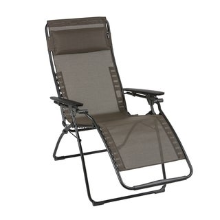 Lafuma Futura Black Steel Frame Zero Gravity Recliner with Wood Batyline Duo Fabric