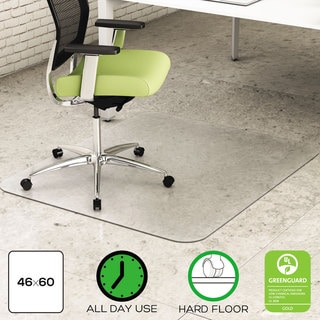 deflecto EnvironMat Recycled Anytime Use Chair Mat for Hard Floor 46 x 60 Clear