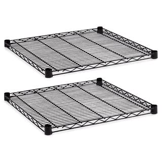 Alera Industrial Wire Shelving Extra Wire Shelves 24-inch wide x 24d Black 2 Shelves/Carton