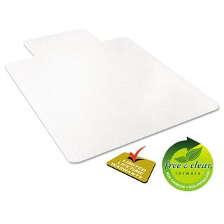 deflecto EconoMat Occasional Use Chair Mat for Low Pile 45 x 53 with Lip Clear