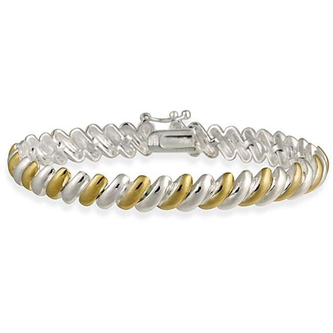 Mondevio Sterling Silver Two Tone San Marco Bracelet