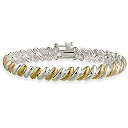 Mondevio Sterling Silver Two-Tone San Marco Bracelet (2 options available)