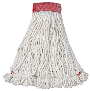 Rubbermaid Commercial Web Foot Wet Mop Head Shrinkless Cotton/Synthetic White Large 6/Carton