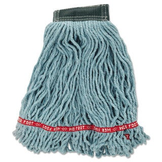 Rubbermaid Commercial Web Foot Wet Mop Head Shrinkless Cotton/Synthetic Green Medium 6/Carton