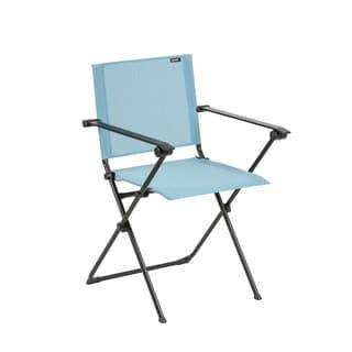 Lafuma Anytime Black Steel Frame Folding Armchair with Aqua Batyline Duo Fabric