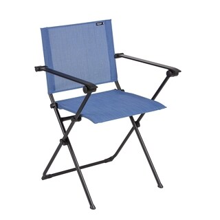 Lafuma Anytime Black Steel Frame Folding Armchair with Outremer Batyline Duo Fabric