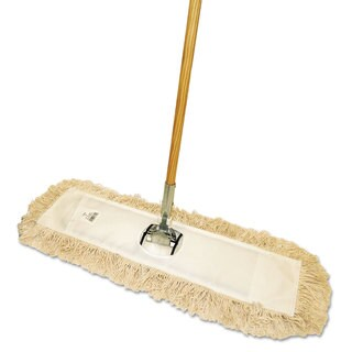 Boardwalk Cut-End Dust Mop Kit 24 x 5 60-inch Wood Handle Natural