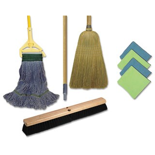 Boardwalk Complete Cleaning Kit Med. Mop 60-inchHandle Blue/Green/Yellow