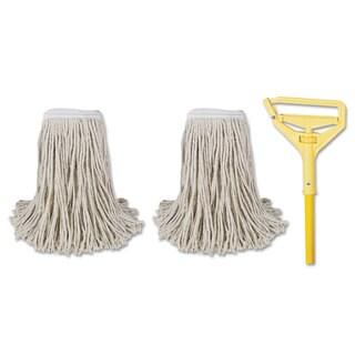 Boardwalk Cut-End Mop Kits #24 Natural 60-inch Metal/Plastic Handle Yellow