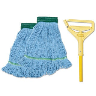 Boardwalk Looped-End Mop Kit Medium 60 inches Metal/Polypropylene Handle Blue/Yellow