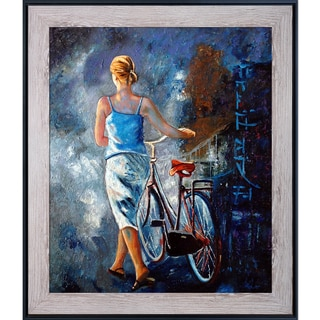 Pol Ledent 'Woman with a Bike' Hand Painted Framed Oil Reproduction on Canvas