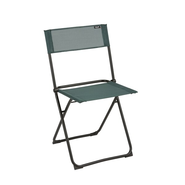 Lafuma Anytime Black Steel Frame Folding Chair with Cedar Batyline Fabric (Set of 2)