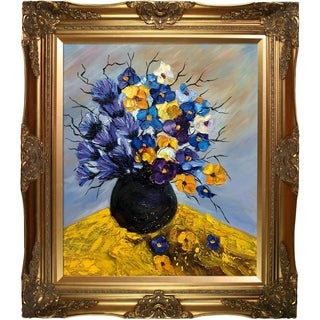 Pol Ledent 'Bunch 451111' Hand Painted Framed Oil Reproduction on Canvas