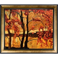 Justyna Kopania 'Autumn' Hand Painted Framed Oil Reproduction on Canvas