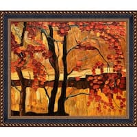 Justyna Kopania 'Autumn' Hand Painted Framed Oil Reproduction on Canvas
