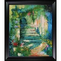 Alex Bertaina 'Escalier Fleuri' Hand Painted Framed Oil Reproduction on Canvas