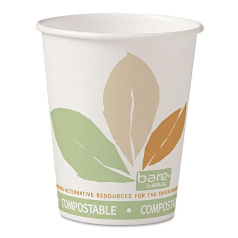SOLO Cup Company Bare PLA Paper Hot Cups 10oz White with Leaf Design 50/Bag 20 Bags/Carton