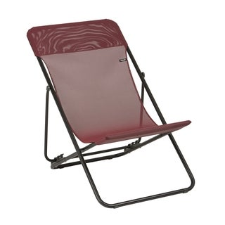 Lafuma Maxi Transat Black Steel Frame Folding Sling Chair with Ruby Batyline Fabric (Set of 2)