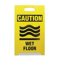 See All Economy Floor Sign 12 x 14 x 20 Yellow with Black 2/Pack