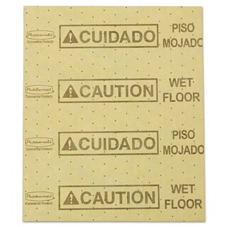 """Rubbermaid Commercial Over-the-Spill Pad """"Caution Wet Floor"""" Yellow 16 1/2-inch long x 20-inch wide 25 Sheets/Pad"""