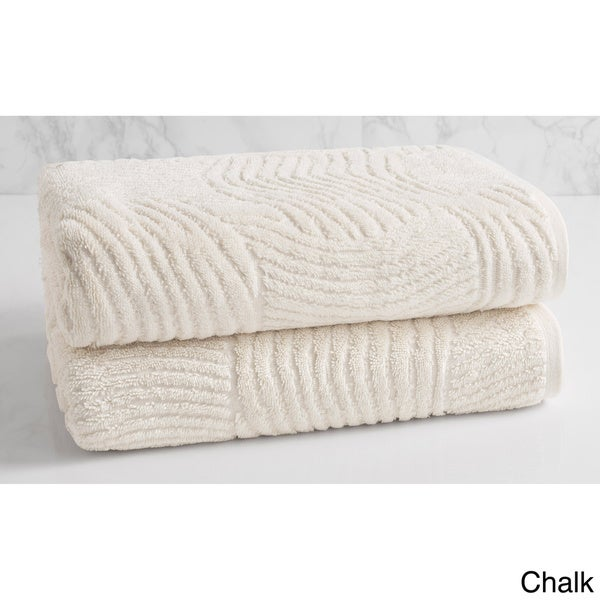 Natori Dynasty Wave Textured Jacquard Bath Towel (Set Of 2) by Natori