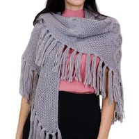 Chunky Cable Knit Fringe Acrylic Triangle Scarf