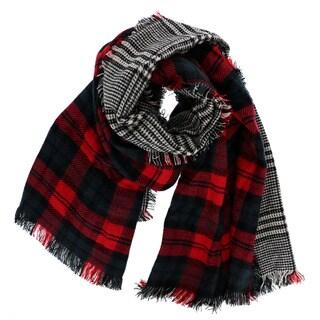 LA 77 Red/ Black Plaid Reversible Blanket Scarf