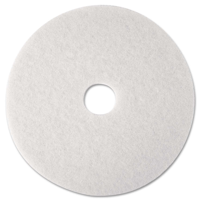 3M Super Polish Floor Pad 4100 12-inch White 5/Carton (Wh...
