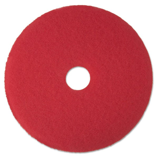 3M Red Buffer Floor Pads 5100 Low-Speed 13-inch 5/Carton