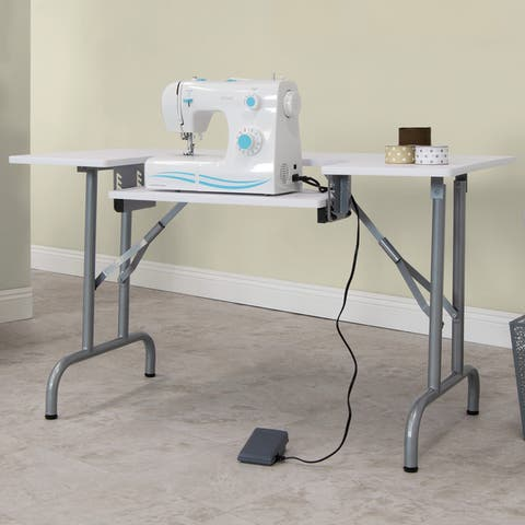 Studio Designs Steel Folding Multipurpose Sewing Machine Table - White