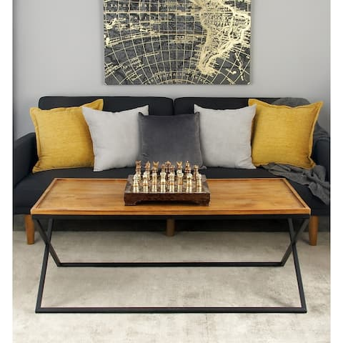 Contemporary 19 x 48 Inch Iron and Wood Coffee Table by Studio 350