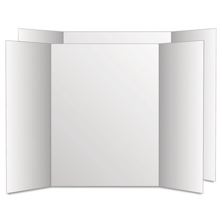 Eco Brites Too Cool Tri-Fold Poster Board 28 x 40 White/White 12/Carton