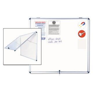 MasterVision Slim-Line Enclosed Dry Erase Board 47 x 38 Aluminum Case