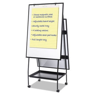 MasterVision Creation Station Magnetic Dry Erase Board 29 1/2 x 74 7/8 Black Frame