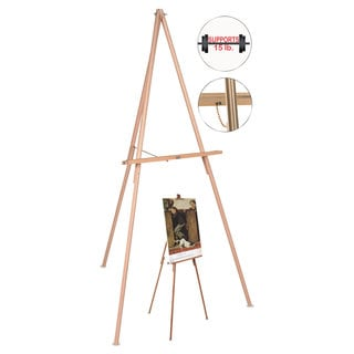 MasterVision Oak Display Tripod Easel 60-inch Wood/Brass
