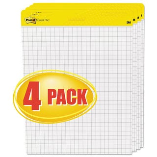 Post-it Easel Pads Self-Stick Easel Pads Quadrille 25 x 30 White 4 30-Sheet Pads/Carton