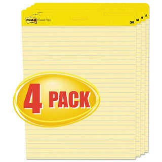 Post-it Easel Pads Self-Stick Easel Pads Ruled 25 x 30 Yellow 4 30-Sheet Pads/Carton